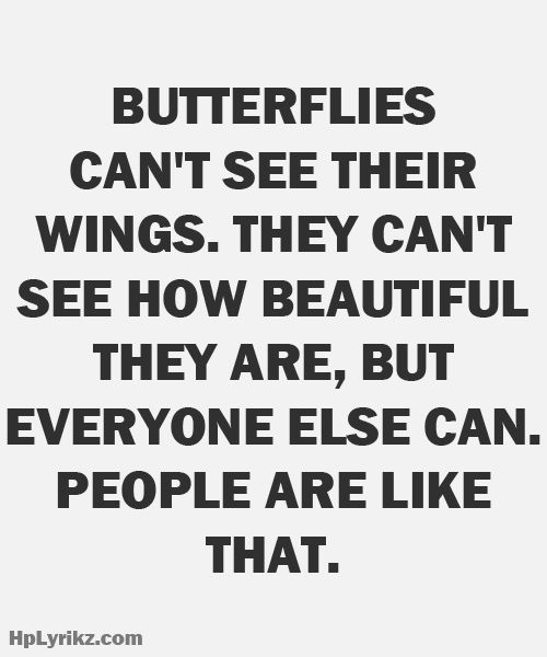Butterflies can't see their wings. They can't see how beautiful they are, but everyone else can. People are like that.